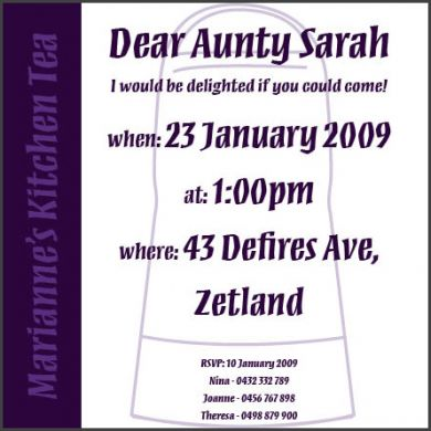 purple kitchen tea invitation red rose invitations