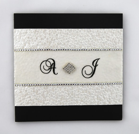 For Without Words Paper Wedding Invitations: Black And White Textured Invitation