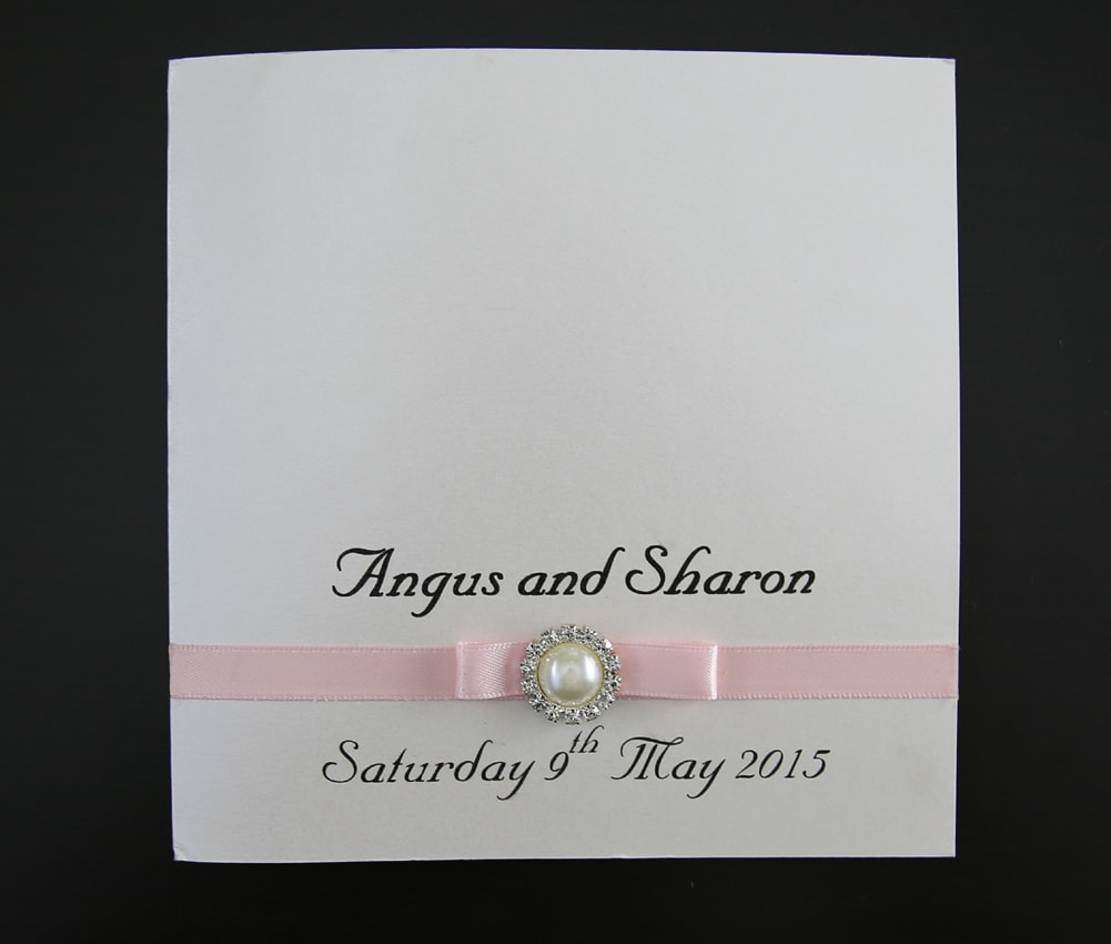 Ivory and Pink Pearl Wedding Invites | Red Rose Invitations