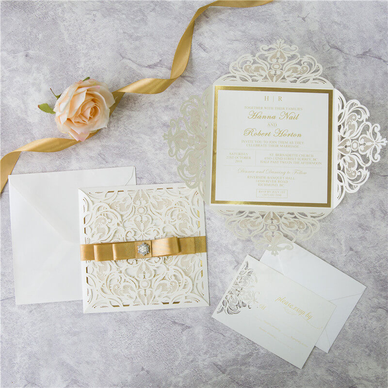 Ivory with Gold Lasercut Invitations | Red Rose Invitations