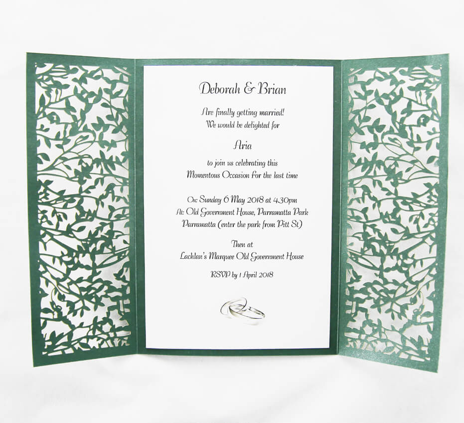 Green Gatefold Lasercut Invitation | Red Rose Invitations