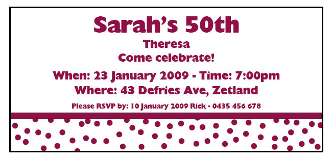 BIRINV12 50th Female Birthday Invitation