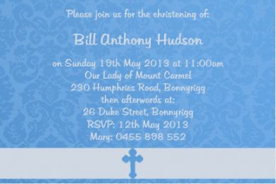 CHRINV02 Blue Christening Gloss Invitation