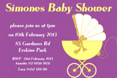 SHOINV03 Yellow and Purple Baby Shower Gloss Invitation