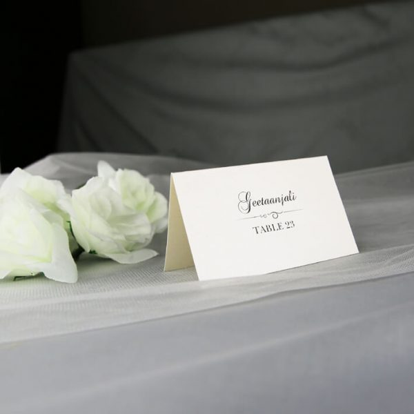 PLACAR132 ivory individual wedding place cards printed in black