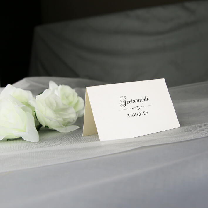 Wedding Place Cards.Ivory Name And Table Number Place Card
