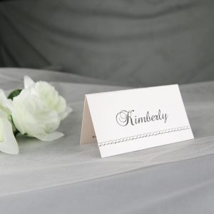 PLACAR146 White Place Card with Diamante Row