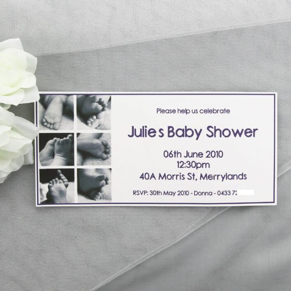 SHOINV07 Baby feet purple baby shower invitation