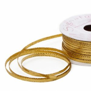 Gold Metallic Satin Invitation Ribbon