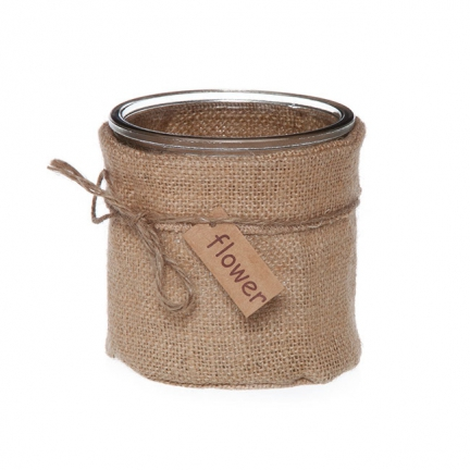Circle Glass Hessian Natural Jute Candle Holder