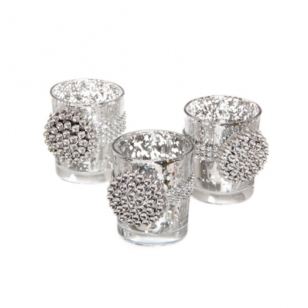 Round Diamante Glass Candle Tealight Holder