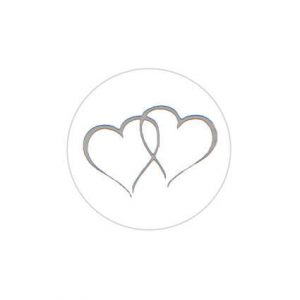 Twin Heart Silver Sticker Large