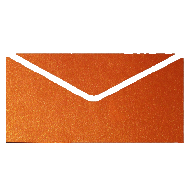 Orange Crystal Perle Metallic Invitation Envelopes