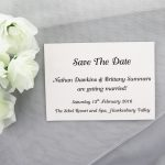 SAVDAT03 Ivory save the date printed in black