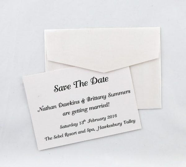 SAVDAT03 ivory printed in black save the date card with back of envelope