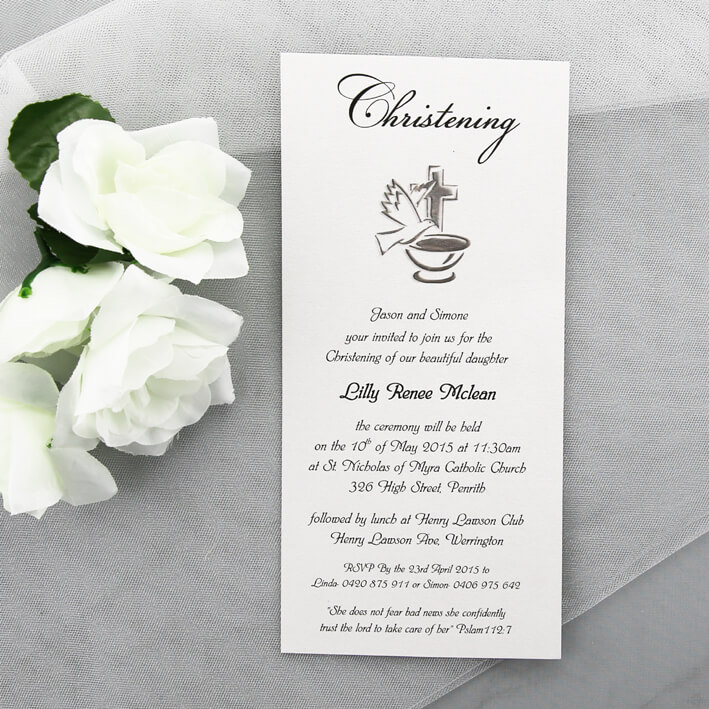 elegant simple christening invitation red rose invitations