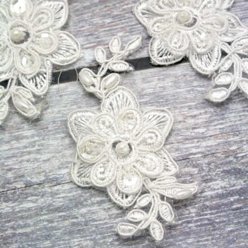 Beaded Ivory Flower Lace Piece for Invitations