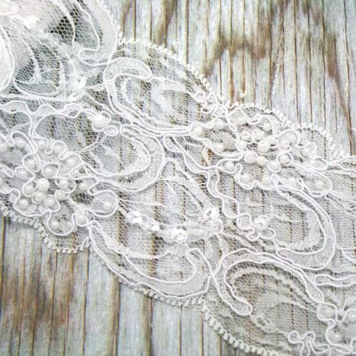 Beaded White Lace Roll for Invitations