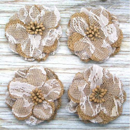 Burlap Lace Flower for Invitations