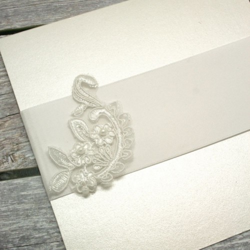 Curved Ivory Beaded Flower Lace Piece for Invitations