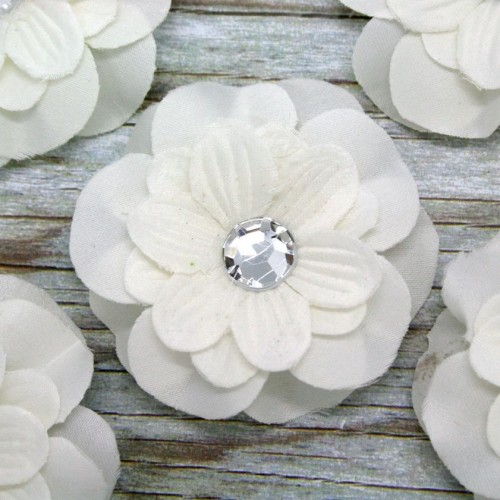 Fabric Flower with Diamante for Invitations