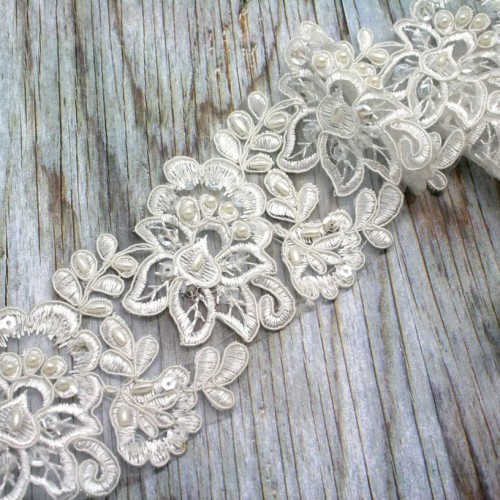 Flower Beaded Lace in Ivory for Invitations
