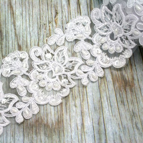 Flower Beaded Lace in White for Invitations
