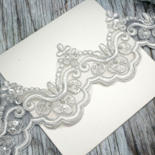 Ivory and Silver Flower Beaded Lace for Invitations