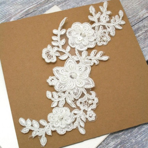 Ivory Beaded Floral Lace Piece for Invitations