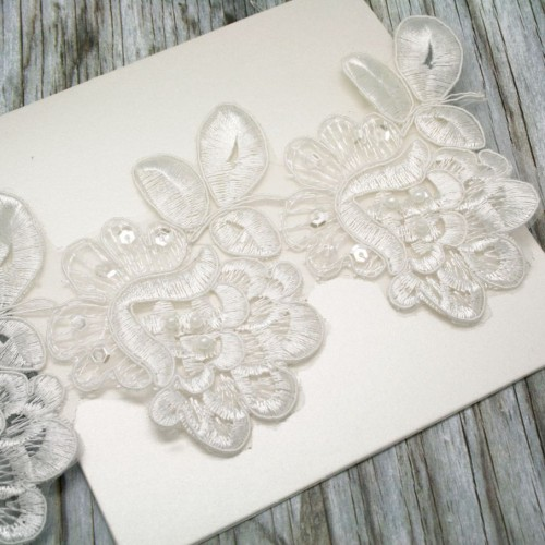 Ivory Beaded Flower Heads Lace for Invitations
