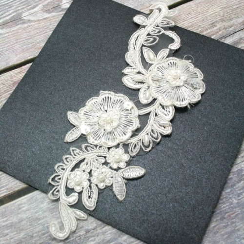 Ivory Beaded Flower Lace Piece for Invitations