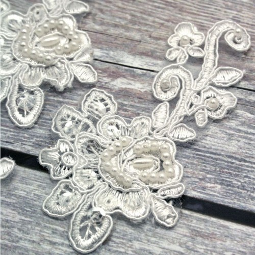 Ivory Beaded Lace Flower and Stem Piece for Invitations
