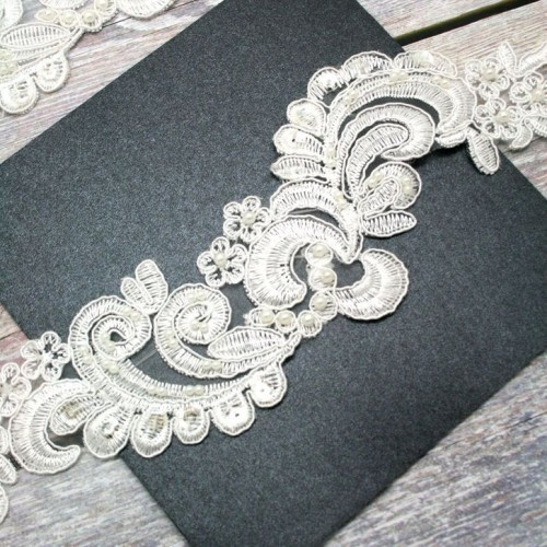 Ivory Floral Beaded Lace Piece for Invitations