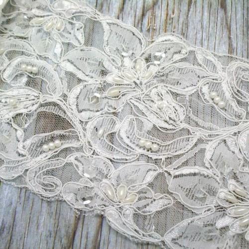 Ivory Flower Beaded Lace for Invitations