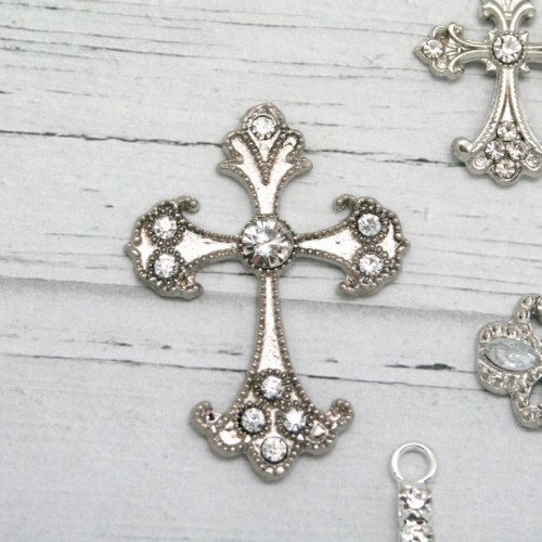 Metal and Diamante Cross for Invitations