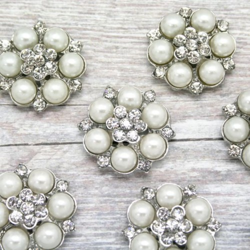 Pearl and Diamante Rhinestone Flower Cluster for Invitations