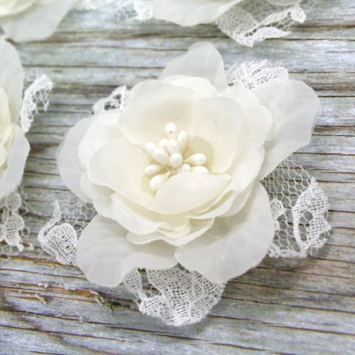 Pearl Lace and Organza Flower for Invitations