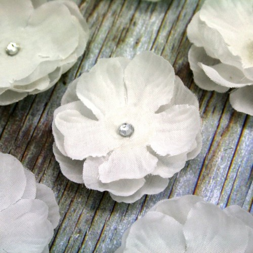 Small layered fabric flower with diamante for invitations