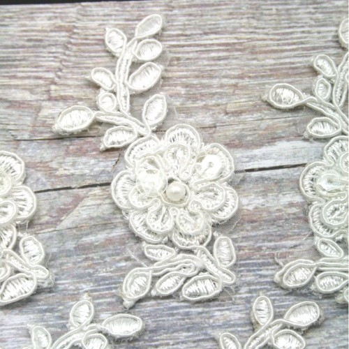 Stemed Flower Ivory Lace Piece for Invitations