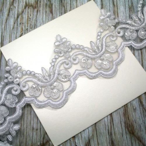White and Silver Beaded Lace for Invitations