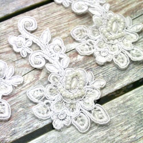 White Beaded Lace Flower and Stem Piece for Invitations