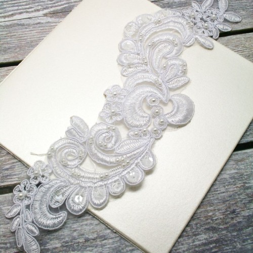 White Floral Beaded Lace Piece for Invitations