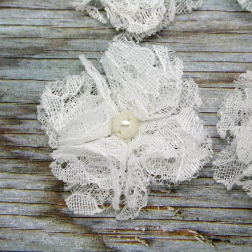 White Lace Like Flower with Pearl for Invitations