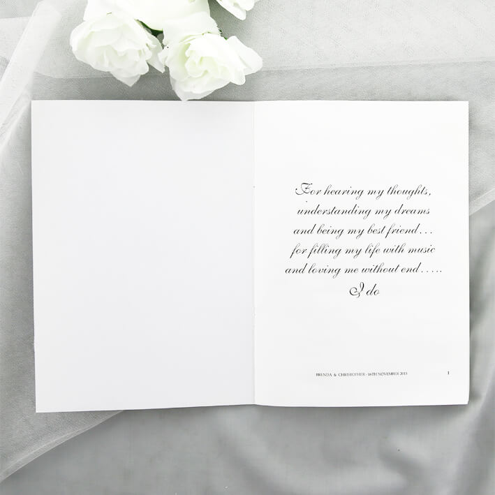 white modern wedding ceremony booklet red rose invitations