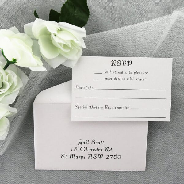 RSVPWISH08 white wedding rsvp card and envelope