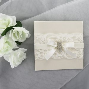 WEDINV07 White Invitation Card with Lace Ribbon Bow and Diamante