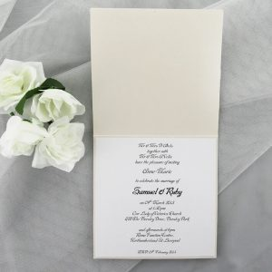 WEDINV07 inside of White Invitation Card with Lace Ribbon Bow and Diamante