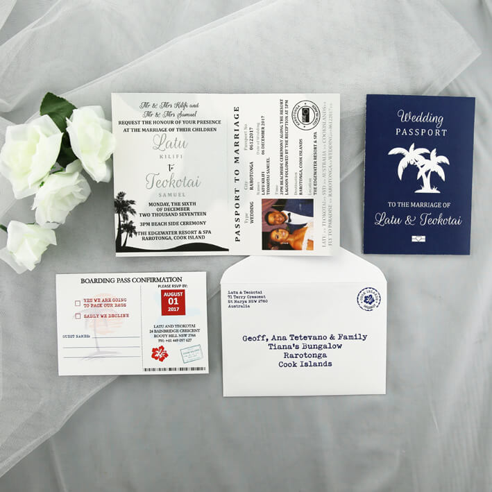 Wedding Invitation Printing.Passport To Fiji Printed Wedding Invitation