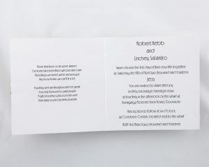WEDINV144 inside of Rainbow Wedding Invitation with black bow