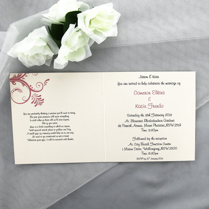 Red And Pink Wedding Invitations: Cream And Pink Wedding Invitation